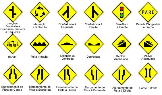placas de sinalização de trânsito - advertência