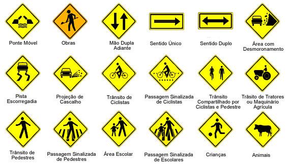 placas de advertências no trânsito